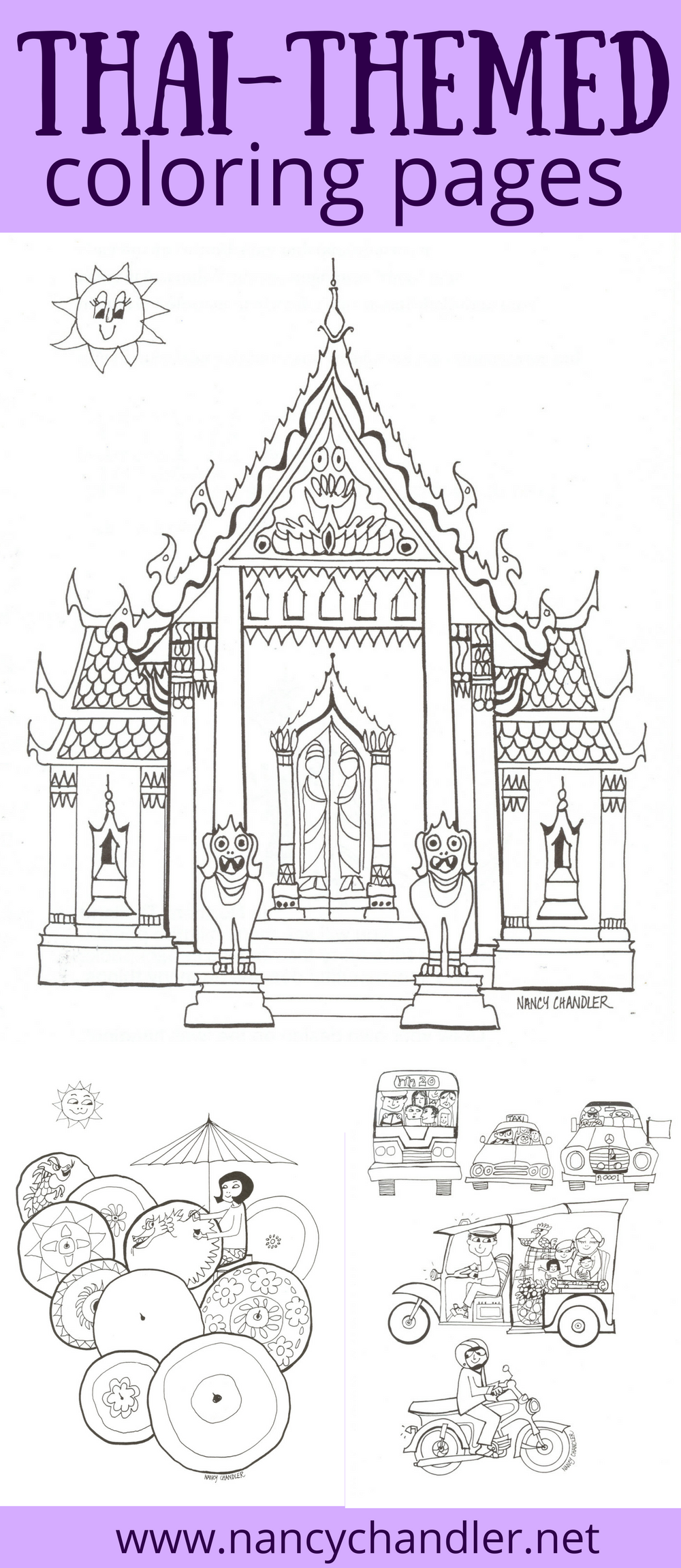 Thailand Themed Coloring Books And Free Downloads From Nancy Chandler Get Free Coloring Pages For Adults Coloring Pages Thailand Kids World Map Coloring Page