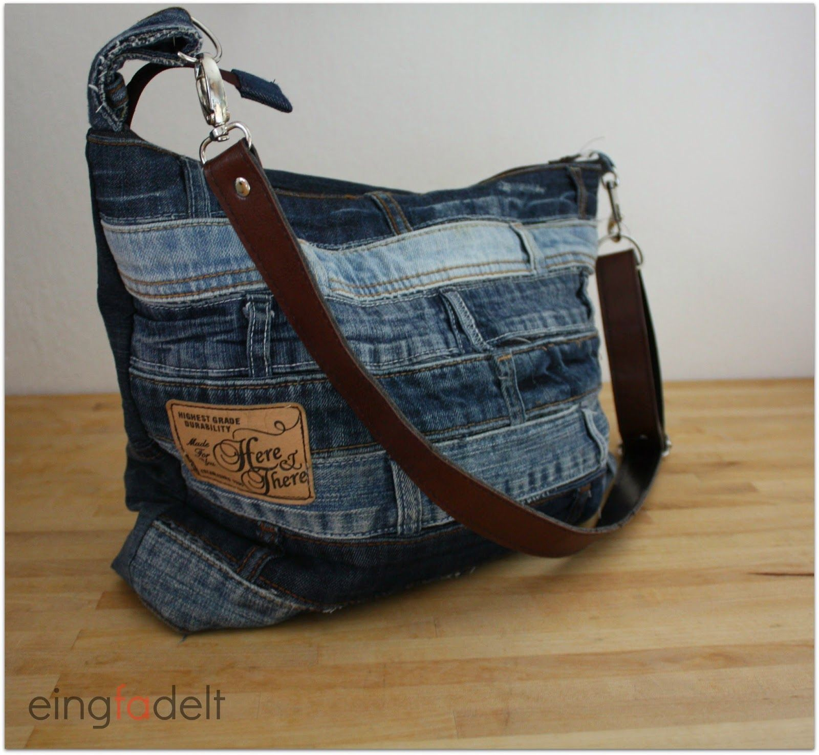 tasche aus jeanshose bag made from pair of jeans upcycling h keln stricken pinterest. Black Bedroom Furniture Sets. Home Design Ideas