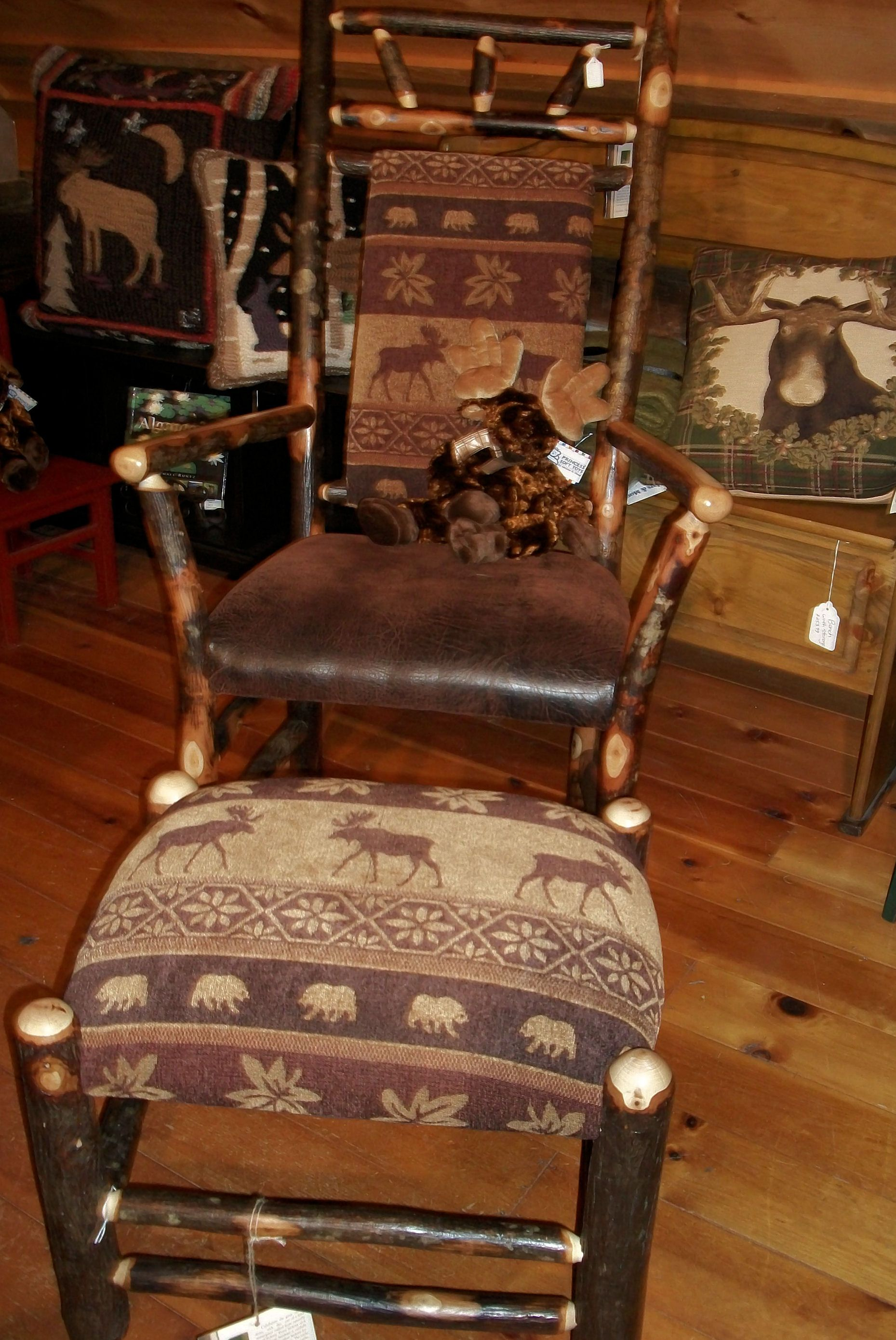 Upholstered rocking chairs hickory rocking chair with moose upholstery  available at the