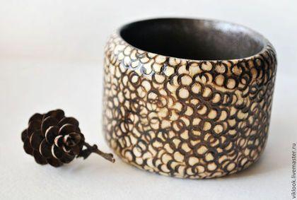 Браслеты ручной работы. Ярмарка Мастеров - ручная работа браслет деревянный Карамель, пирография. Handmade.