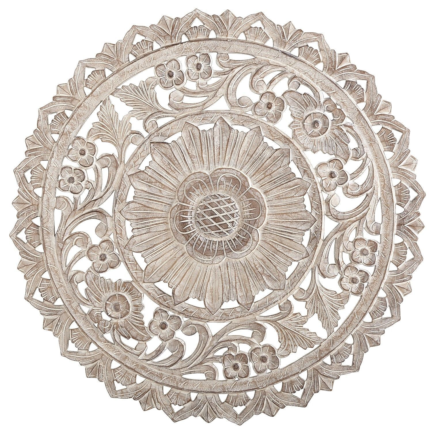 Carved whitewashed round wall decor pinterest wall decor walls