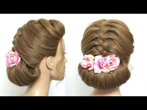 Simple Hair Bun Hairstyle For Wedding Party Or Function Youtube