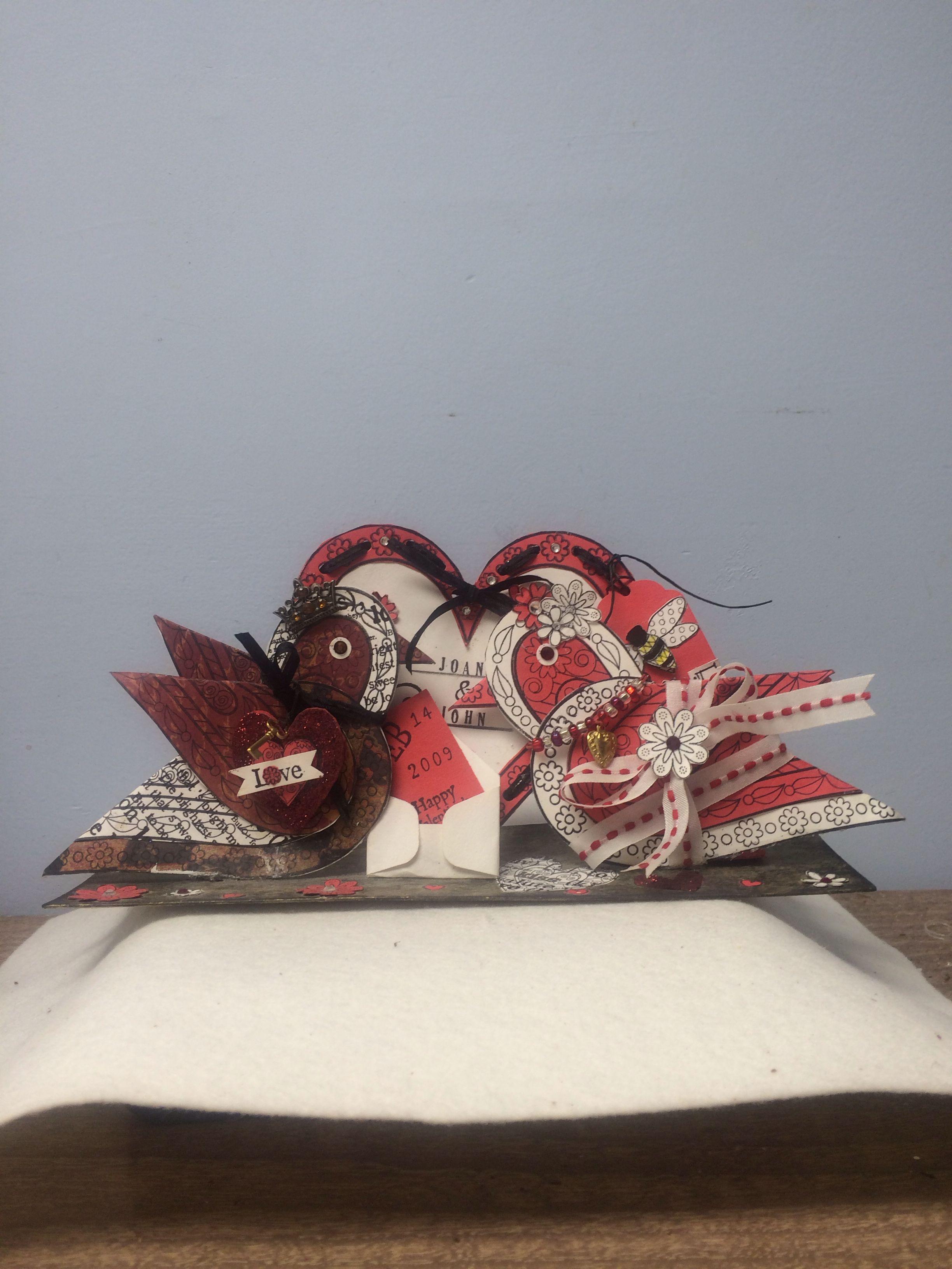 Valentine  heart paper ink love birds rubber stamps  love
