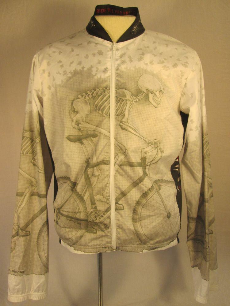 PRIMAL WEAR Cycle Jacket RIDE 'TIL YER FRIED Full Zip Polyester Mens Large #PrimalWear #CoatsJackets