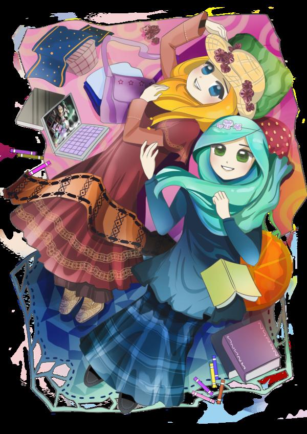anime manga hijab Kartun, Gambar, Animasi