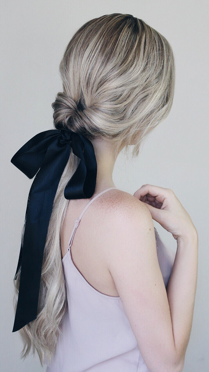 Simple Hairstyles Incorporating Bows & Ribbon - Alex Gaboury | Ribbon hairstyle, Bow hairstyle ...
