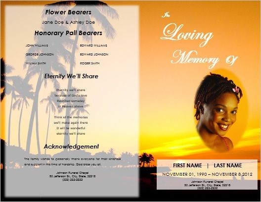Printable Sunset Obituary Program Template For Microsoft Word