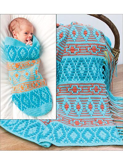 Native American Afghan & Baby Cocoon - Also included are ...