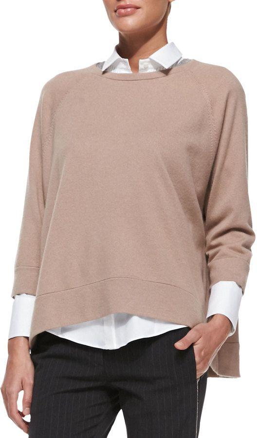 e29ba1adda3 Brunello Cucinelli Cashmere Monili-Trim Swing Sweater on shopstyle ...