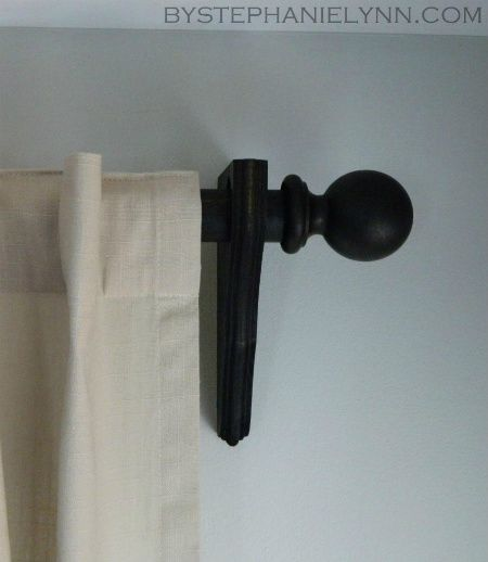 make your own wooden ball curtain rod set with brackets - diy