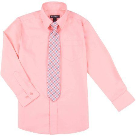 801a3fa6793a80 George Boys Long Sleeve Solid Broadcloth Dress Shirt and Tie Set ...