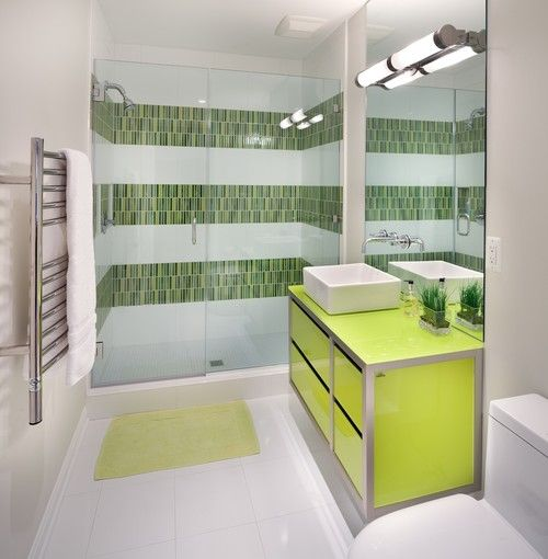 Renew Your Small Bathroom With Modern Decor In Green! #Bathroom #Decor