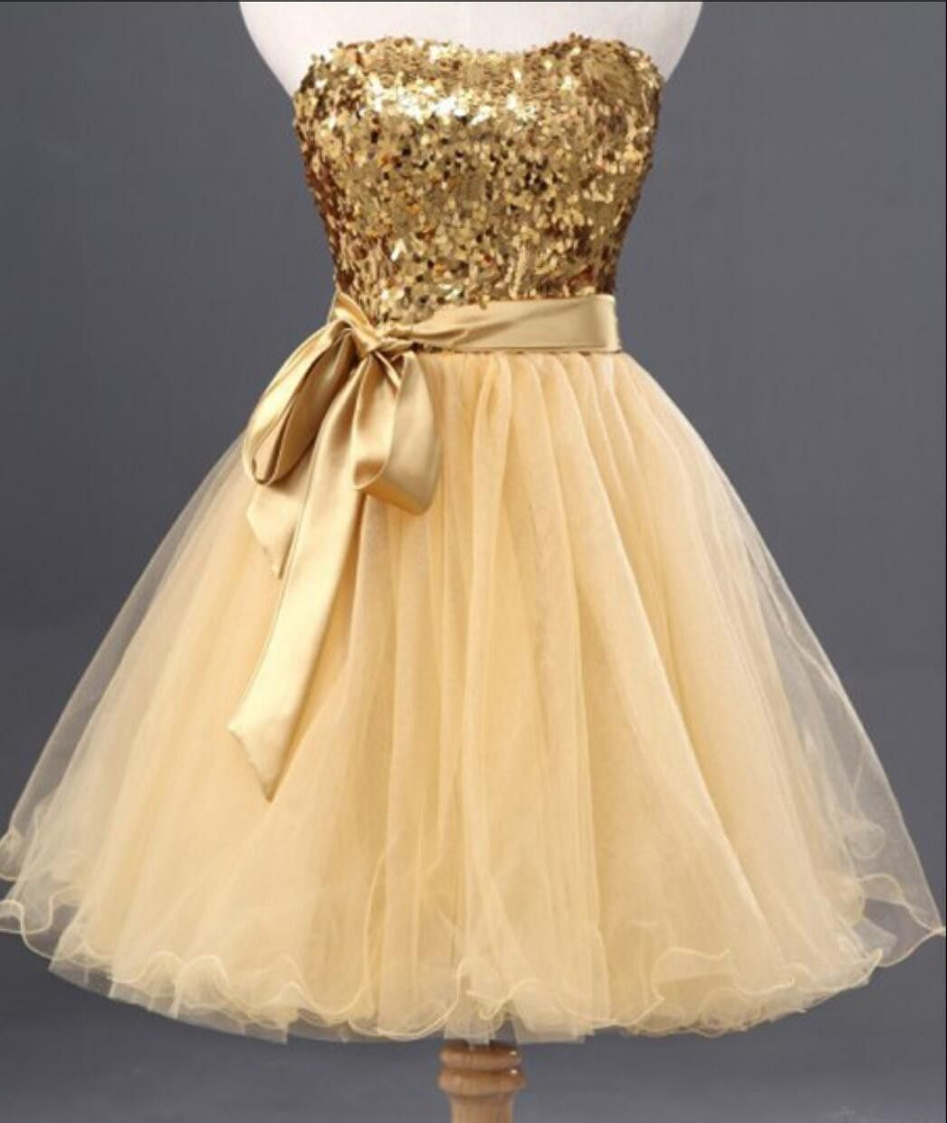 Fashion gold sequin short cute homecoming prom dresses cm
