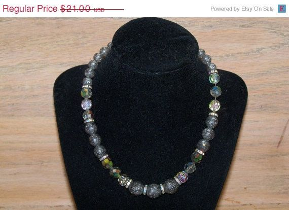 25% Off Vintage Necklace Grey Crackle Glass by YoursOccasionally