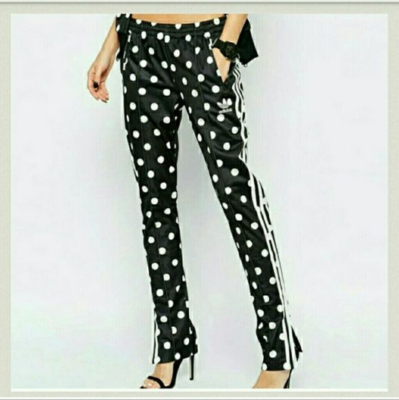 7c34662a8b51 Adidas Polka Dots   Signature stripes track Pants Elastic waistband Front  zipped hand pockets Black colored fabric White polka dots and signature  stripes ...