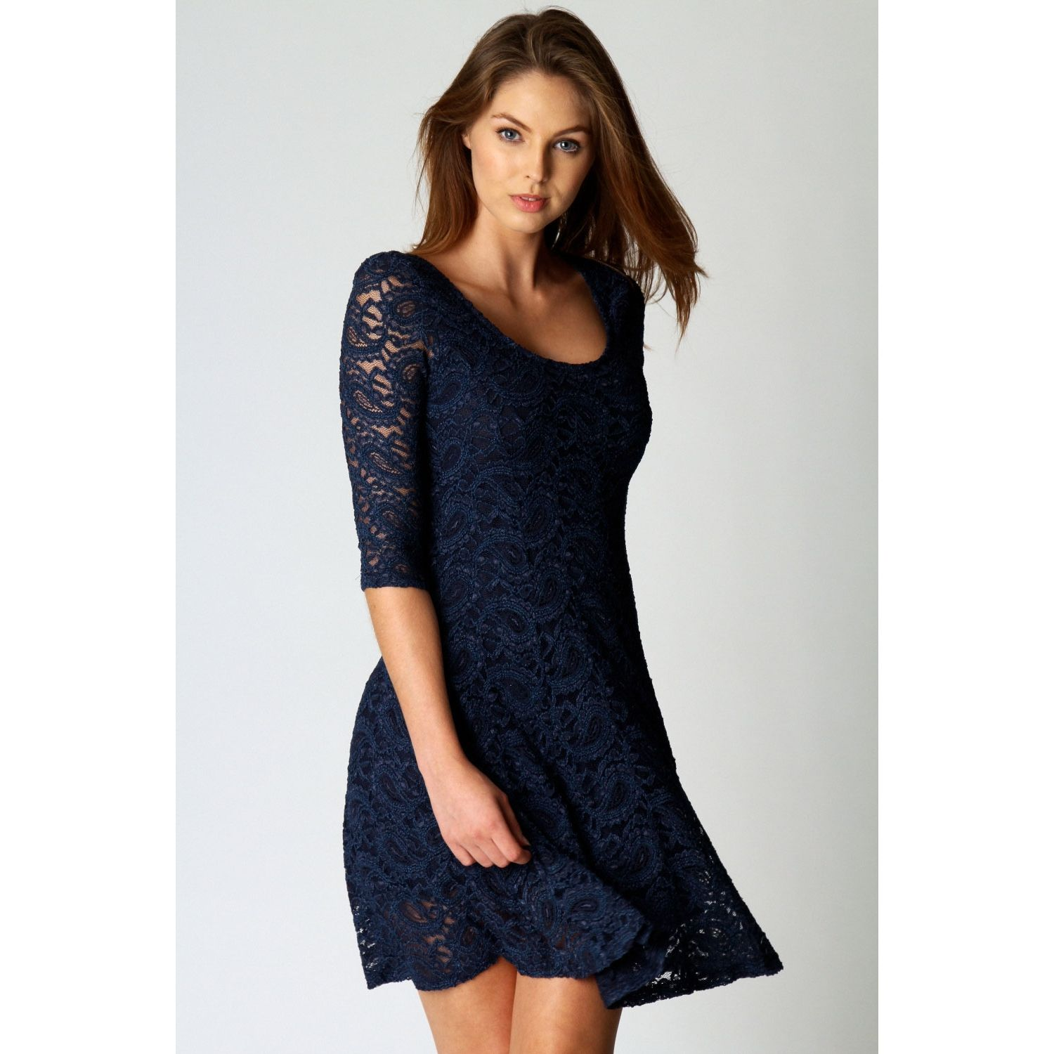 aafea65ff560 Boohoo Women s Ivy All Over Lace 3 4 Sleeve Fit + Flare Dress (Navy Blue)