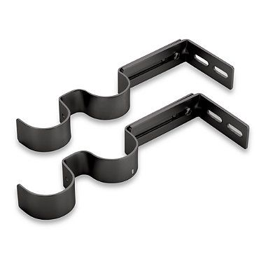 Kirsch Pair Of Double Brackets In Black Bedbathandbeyond Com