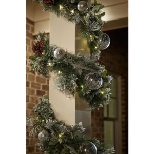 9 Ft Battery Operated Snowy Silver Pine Artificial Garland