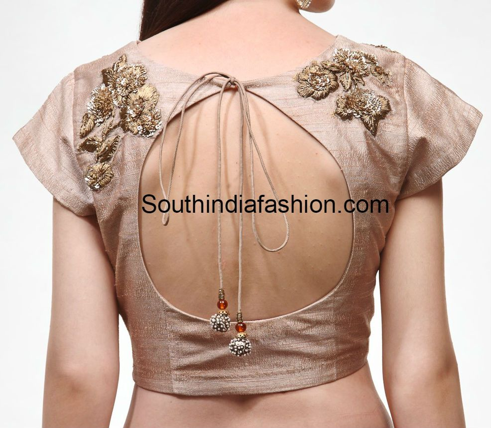 a84ef8b73226f9 Gold Embroidered Boat Neck Blouse   Blouse designs   Blouse, Saree ...