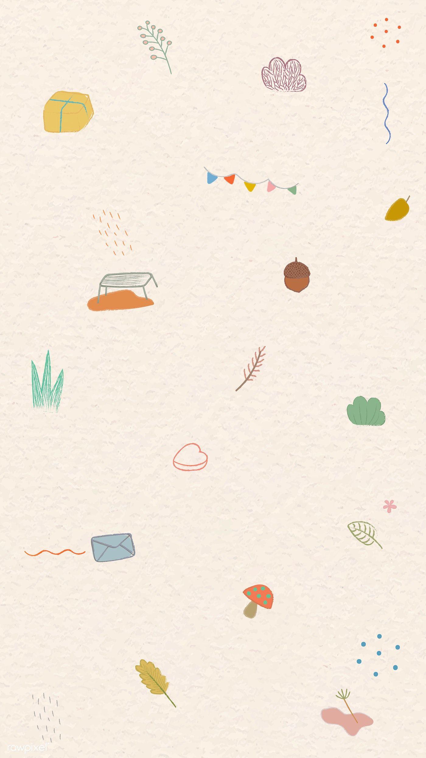 Download Premium Vector Of Cute Autumn Doodle Patterned Mobile Screen Ilustrasi Vintage Ilustrasi Wallpaper Hitam Lucu