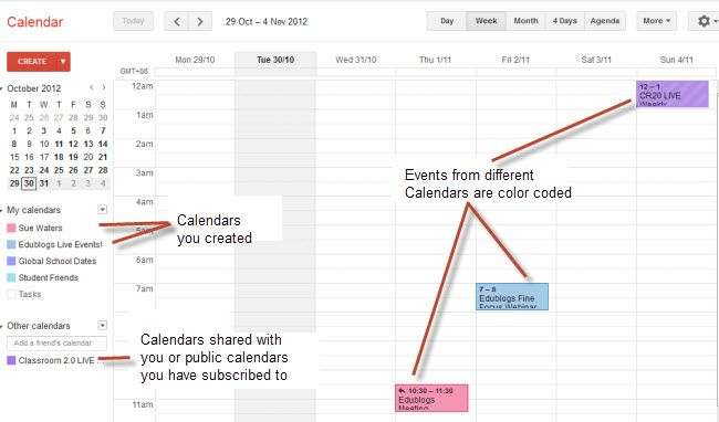 Google Calendar For class info, would be good to create one of