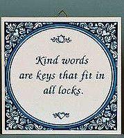 Dutch Gift Idea Tile: Kind Words Keys..