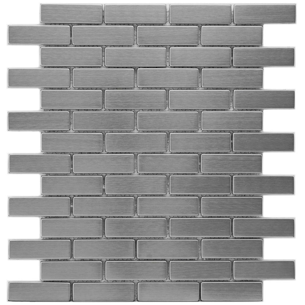 Merola Tile Meta Subway 10 1 2 In X 12 1 4 In X 8mm Stainless Steel Metal Over Ceramic Mosaic Tile Mdrmsste The Home Depot Stainless Steel Subway Tile Stainless Steel Tile Ceramic Mosaic Tile