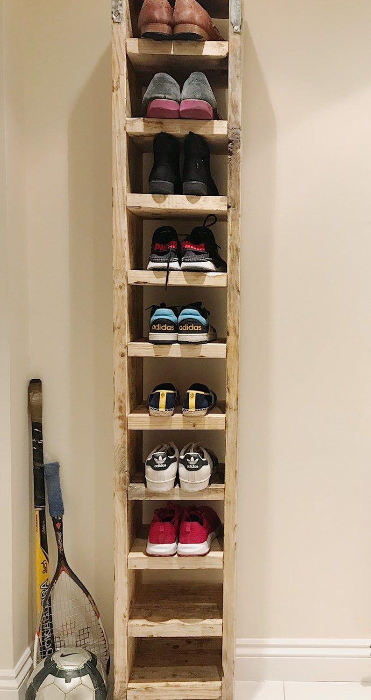 Tall Shoe Rack In 2020 Diy Shoe Rack Pallet Shoe Rack Wood