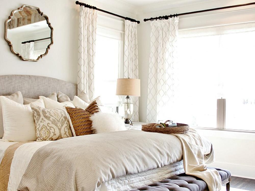 Color Wheel Update: Greek Villa | Farmhouse bedroom decor ... on Farmhouse Bedroom Curtain Ideas  id=91270