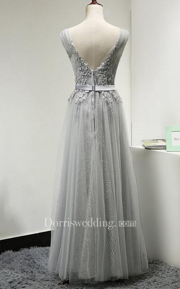 a82c0df1b01 V Neck V Back Cap Sleeve A-line Pleated Tulle Long Dress With Applique and  Belt - Dorris Wedding