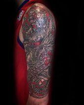 Photo of Herr mit halben Ärmel rot und grau Dragon Tattoo #Tatto … – Herr mit …