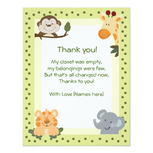 Jungle Safari Animals Baby Shower Thank you notes Card | Safari ...