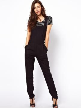 Shop Black High Waist Overalls from persunmall.com .Free shipping Worldwide.