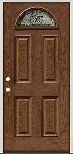 Fiberglass Front Door, Texas Star Fan Lite #35 Patina, Pre Finished Oak