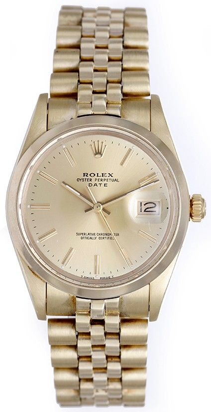 $7,299 Rolex 1980's 14k Yellow Gold Date 34mm Quickset Men's Automatic Watch 15007 RARE