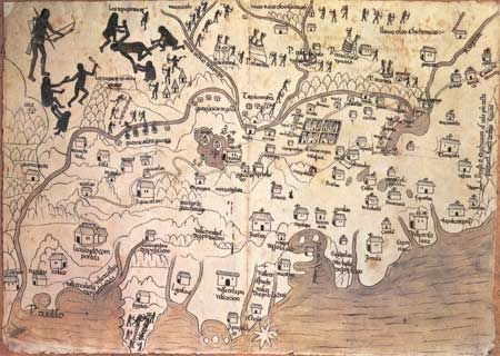 A 16thcentury map of New Spain west and north of Mexico City