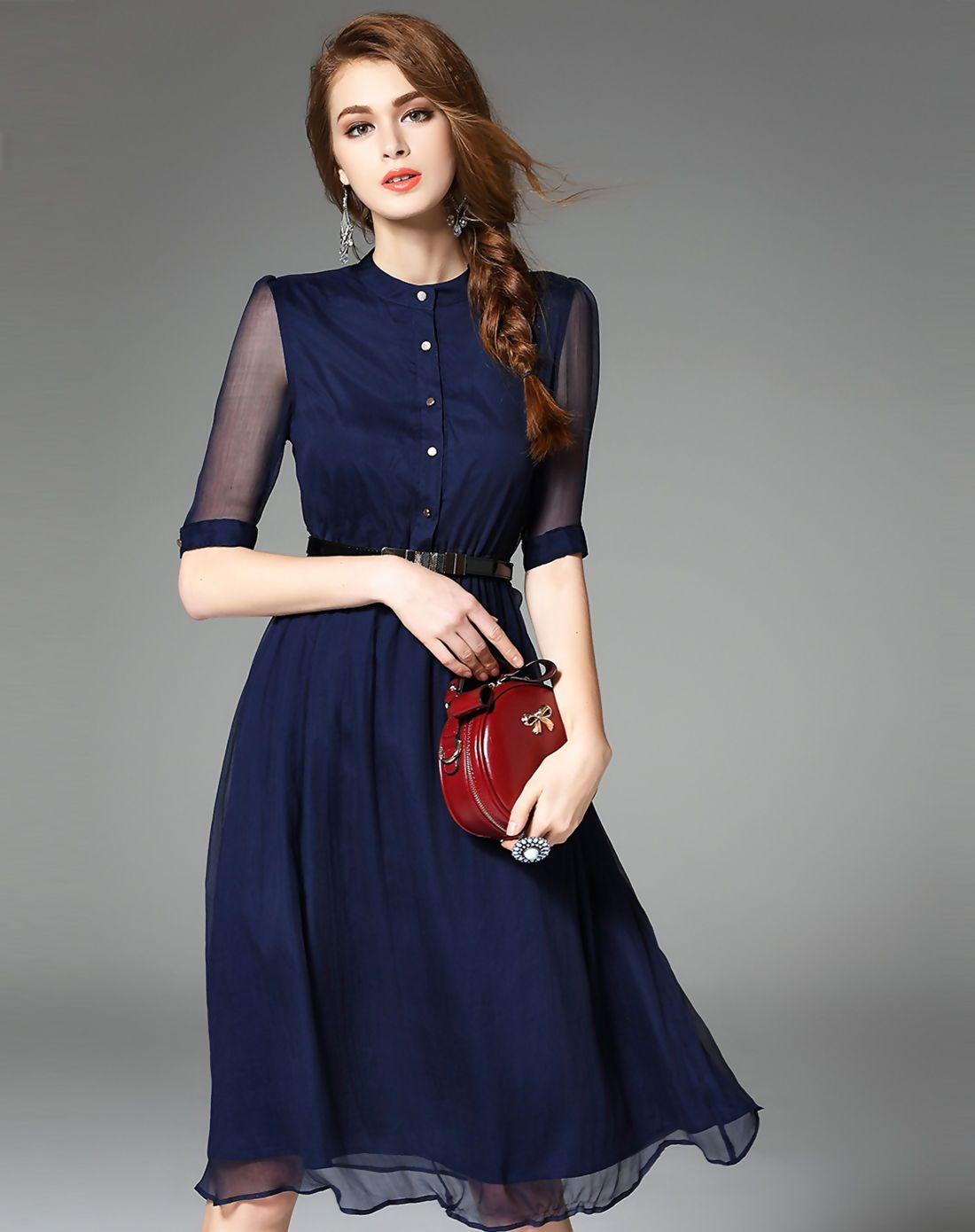 AdoreWe  VIPme Skater Dresses - Ewheat Summer Navy Blue Silk Half Sleeve  Belted Midi Dress - AdoreWe.com 943977e2f583