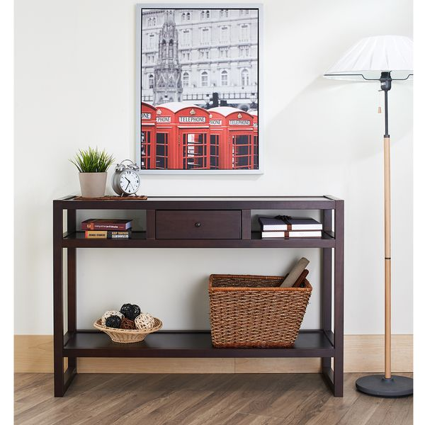 Overstock Foyer Furniture : Furniture of america neviah open modern espresso entryway