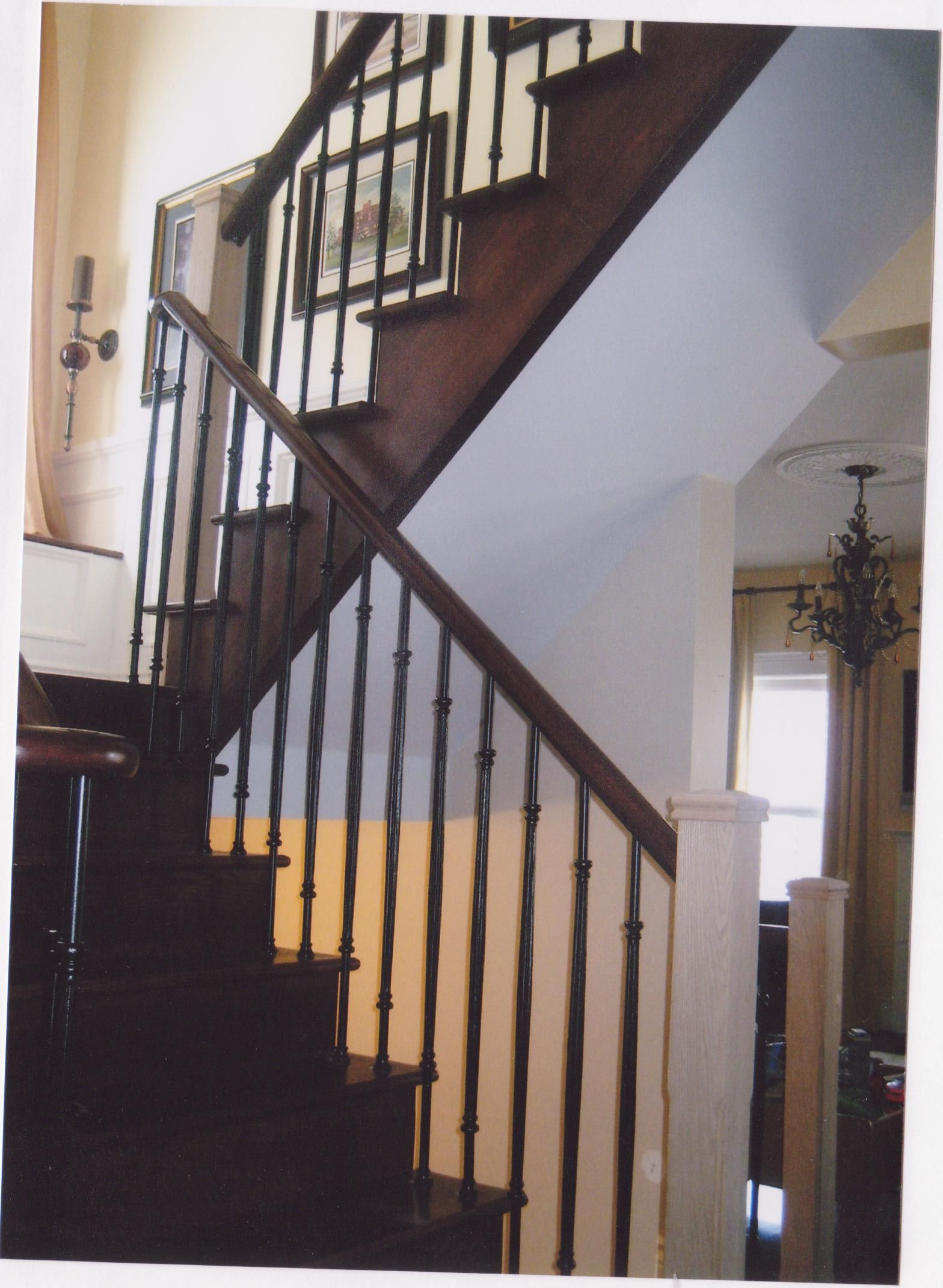Best Dark Stain Oak Staircase Open One Side Stairs 640 x 480