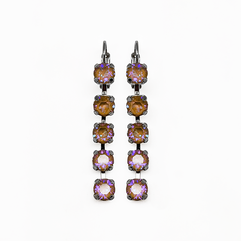 Photo of Petite Five Stone Leverback Earrings in Sun-Kissed Horizon *Preorder* – Yellow Gold