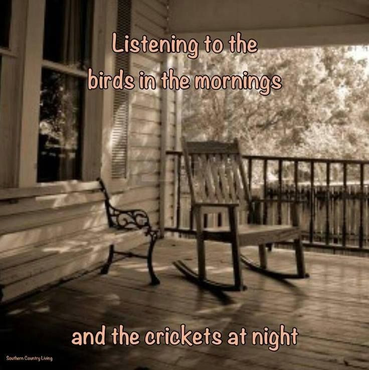 Listen to the birds in the morning and the crickets in the evening.