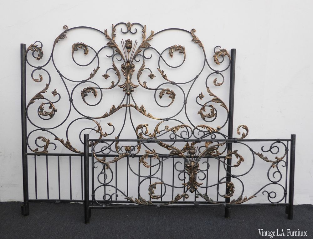 Vintage French Ornate Wrought Iron Scrolled Queen Headboard Bed