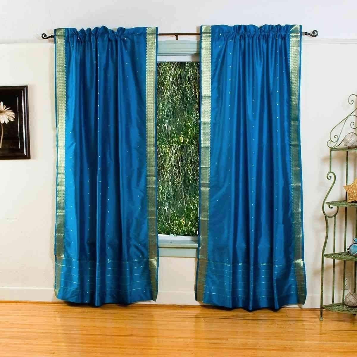 Indian Selections Turquoise Rod Pocket Sheer Sari Curtain / Drape ...