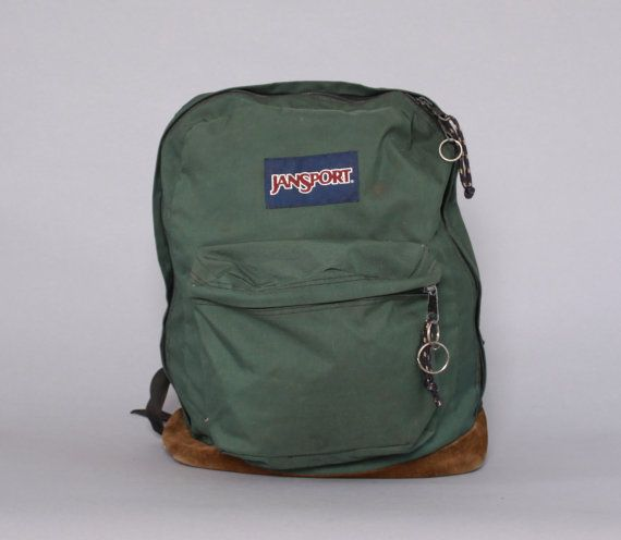 enjoy complimentary shipping superior materials exceptional range of styles and colors Vintage JANSPORT BACKPACK / Forest Green Canvas & Leather ...