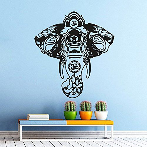 Elephant Wall Decal Home Decor Decals Indian Pattern Om Symbol Decal ...