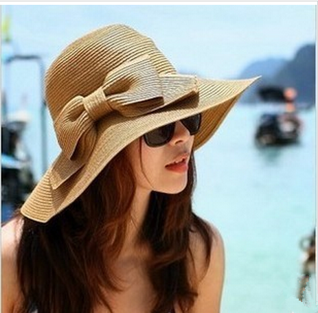 f66852c83f1db EUBUY Fashion Korean Style Floppy Wide Brimmed Summer Beach Bow Hat ...