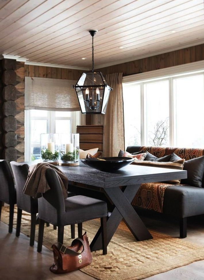 Love the bench and chair seating around a farm house table