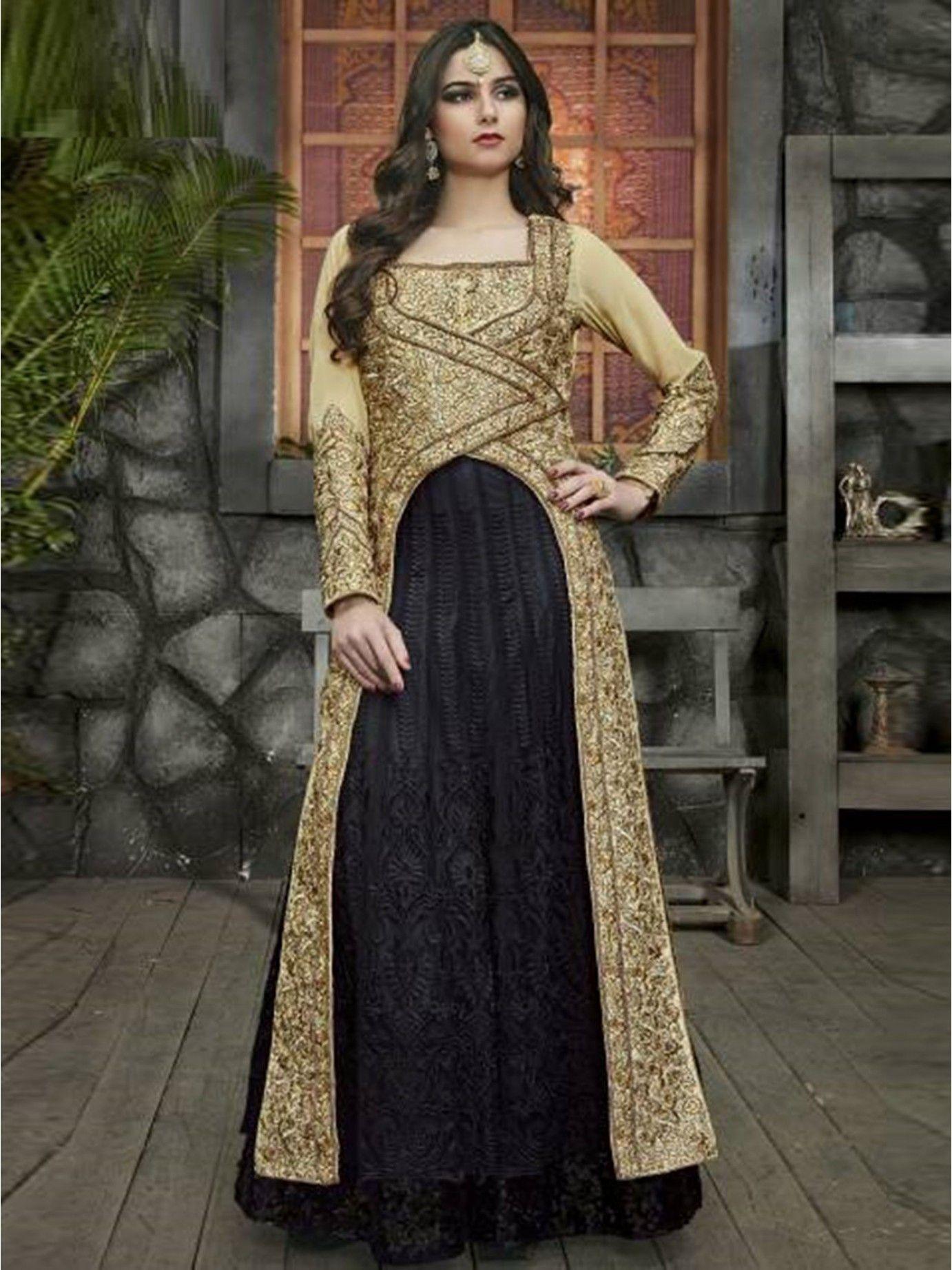 shop online black silk embroidery anarkali salwar kameez at