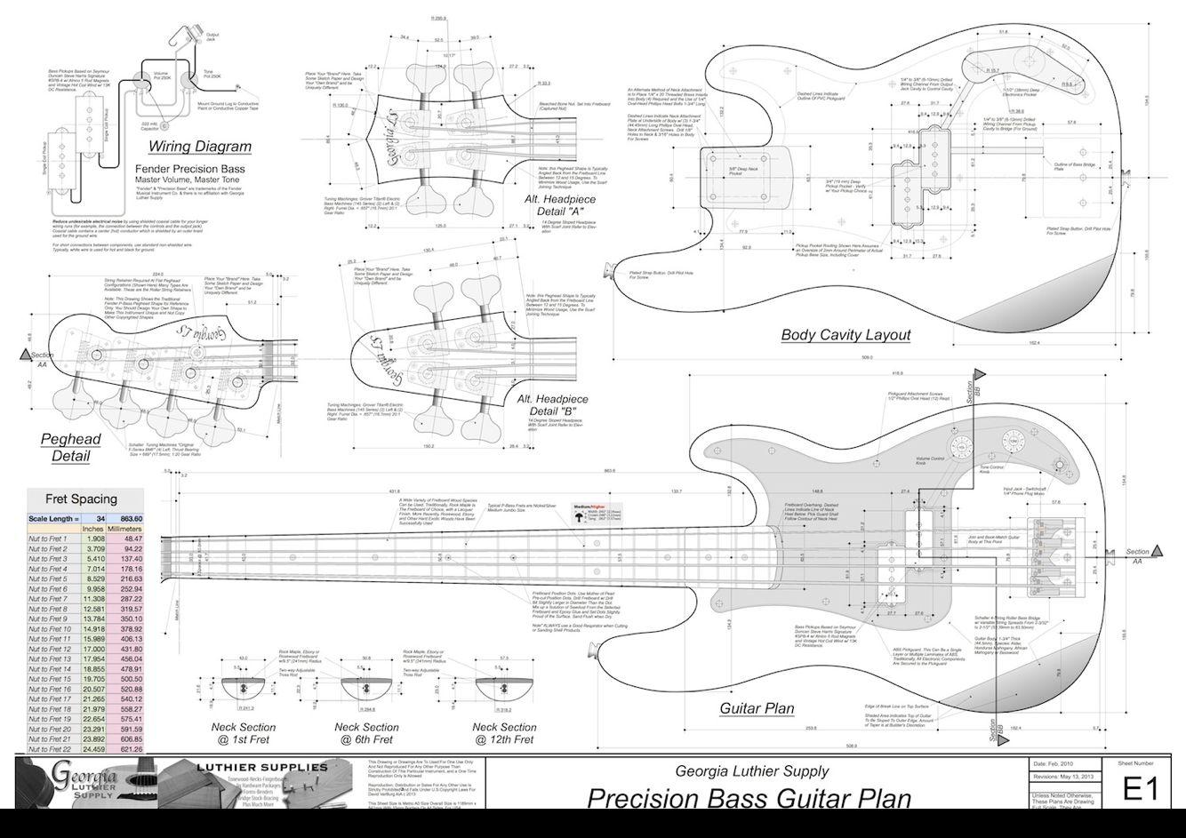 P bass blueprints bass pinterest bass guitars and guitar p bass blueprints malvernweather Images
