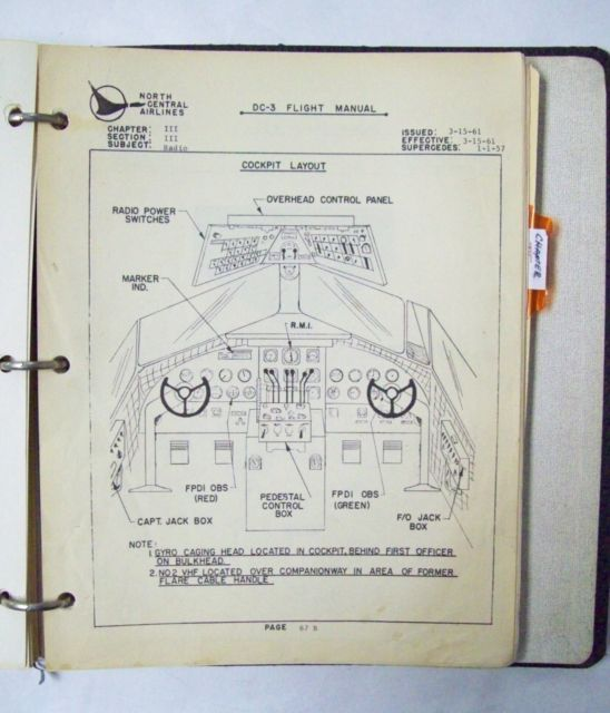 North Central Airlines Original Dc 3 Flight Manual Airlines Vintage Aviation Yesterday And Today